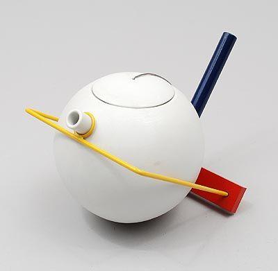 Porcelain teapot Théière in coloured metal frame design Jean-Philippe Baudry / France