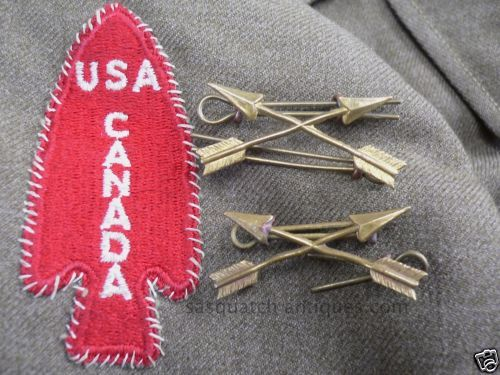 PAIR-CANADIAN-OFFICERS-FSSF-CROSSED-ARROW-LUGGED-COLLAR-INSIGNIA-DEVILS-BRIGADE