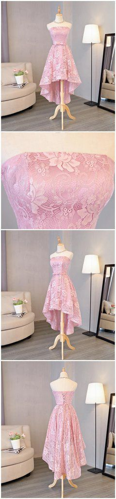 Strapless Lace High Low Pink Homecoming Prom Dresses, Affordable Short – SposaDesses