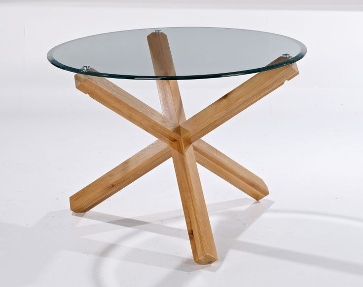 """Oporto Table with 4 Hampton Chairs  42"""" round table with solid Oak legs. Tempered glass. Diameter: 1065mm x H740mm"""