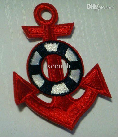 Красный морской якорь Вышитые Железо на патч Знак Аппликация с бесплатной доставкой бесплатная доставка