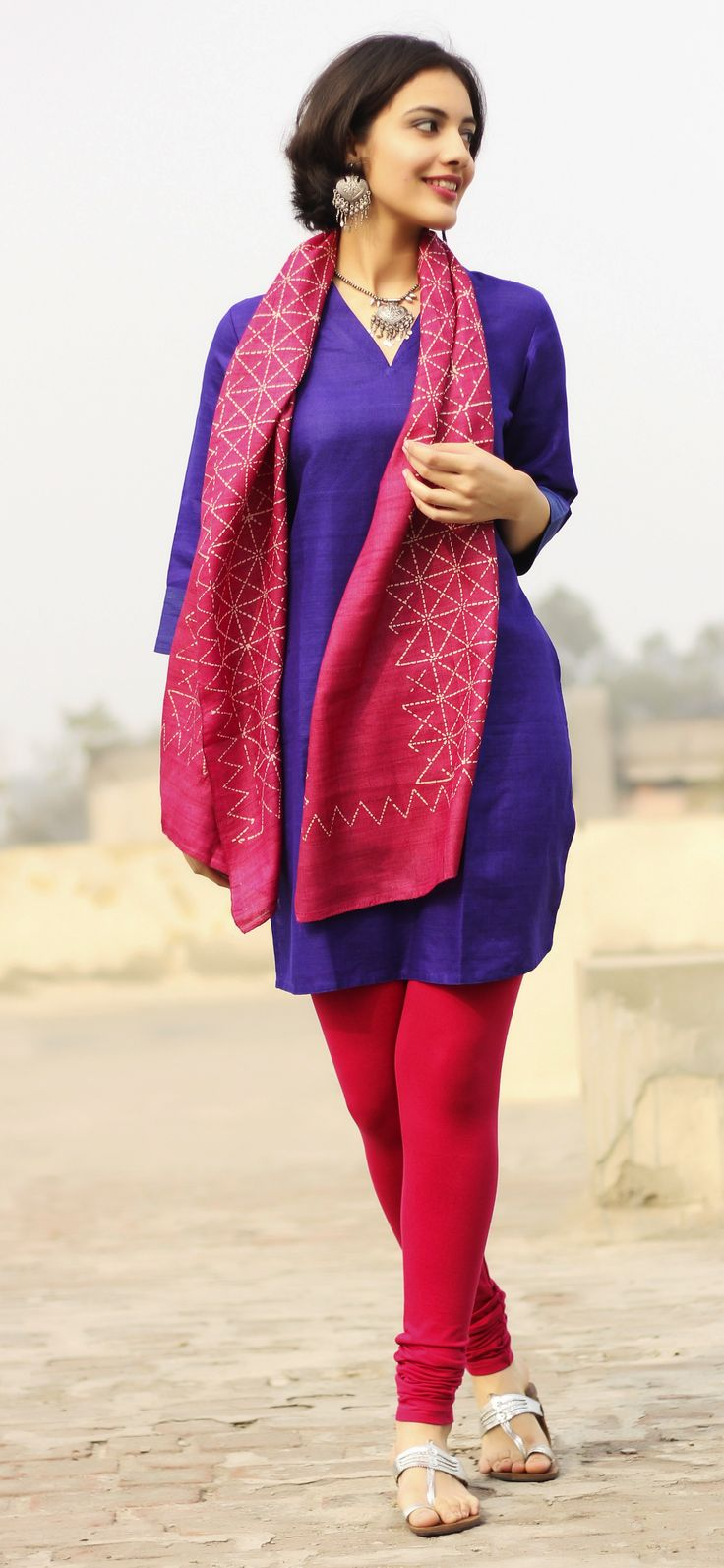 pink and purple silk kurta with cotton churidar