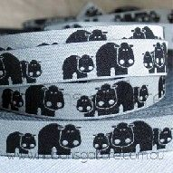 hippos on light grey ribbon (12mm wide) [per metre] - $3.20 : Ribbons Galore, your online store for the best ribbons