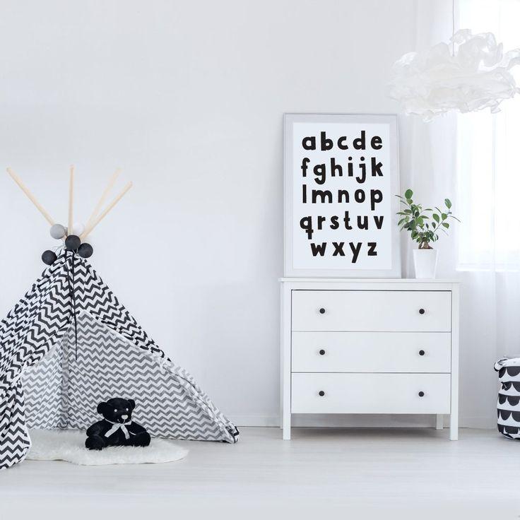 Alphabet black on white monochrome kids wall art print poster - Makers Ink