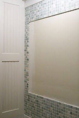 Website With Photo Gallery tile around the bath mirror not behind it Nice idea for back bath