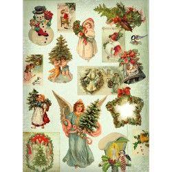 рождественская ель рисовая бумага