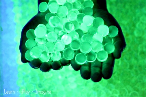 Glowing water beads - this calls for using a highlighter. I wonder if using the liquid inside a glow stick would do the same thing?