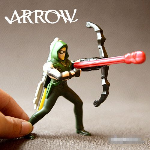 Original Green Arrow Action Figure and stickers Kids Toy Fun Toy Mini doll 10cm PVC Model Toy for Children Birthday Gifts #Affiliate