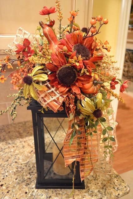 fall centerpiece on lantern