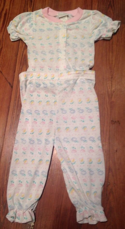 Girls VINTAGE 70s CARTERS USA Flower Tulip Hearts Short Pants One Piece Pjs - 2T