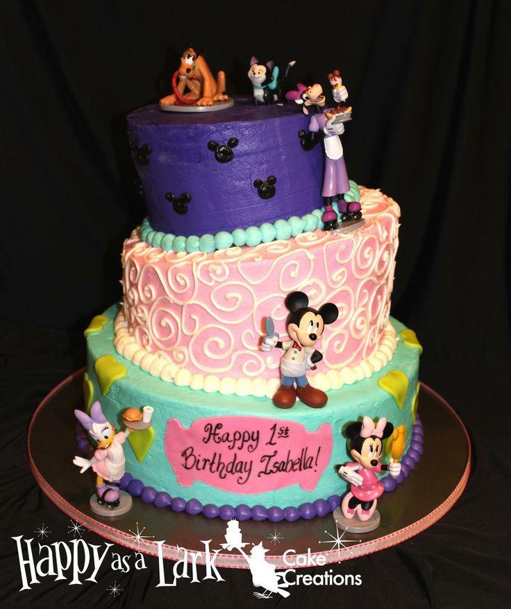 Minnie Mouse themed topsy turvy birthday cake