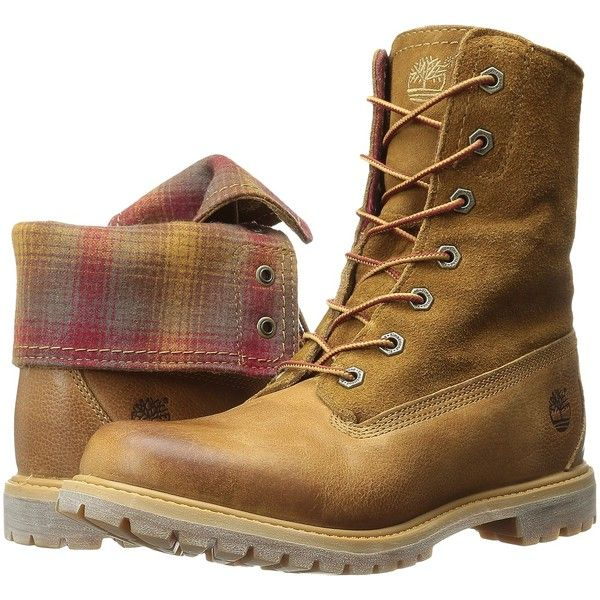 Timberland Authentics Fabric and Leather Fold-Down (Wheat... (€73) ❤ liked on Polyvore featuring shoes, boots, brown, timberland boots, red boots, brown platform boots, lug sole platform boots and leather boots