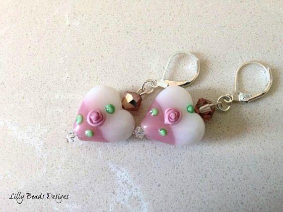 Dangle Earrings,Heart Drop Earrings,Lampwork Earrings,Heart Earrings,Glass Earrings,Pink Earrings,White Earrings,Lampwork Hearts,Lampwork