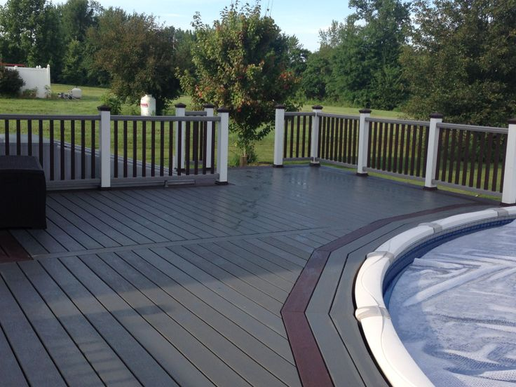 Tricolored Trex Deck With Accent Around Pool Deck Ideas