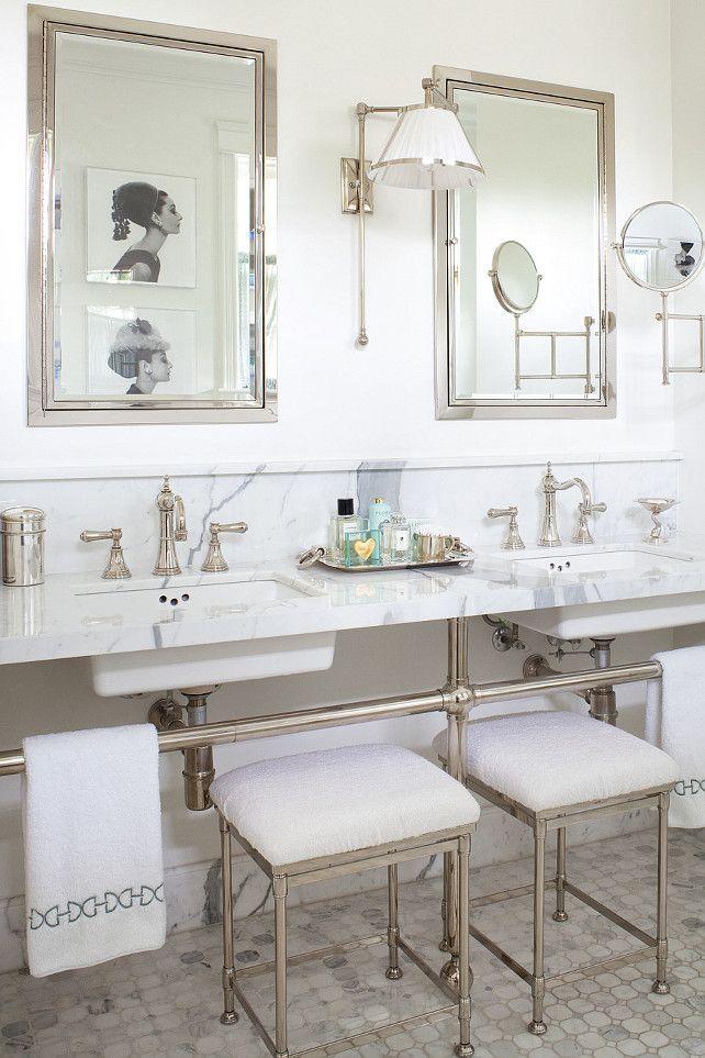 Best Bathroom Bliss Images On Pinterest Bathroom Bathroom - Polished nickel bathroom mirror
