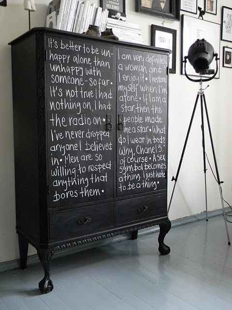 take one aging cabinet; add blackboard paint and create a constantly evolving masterpiece.  I can see this in my future.