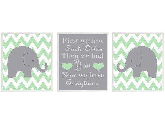 Elephant Nursery Art Print Set  - Chevron Green Gray Decor - First We Had Each Other Quote - Modern Neutral Baby Room - Wall Art Home Decor