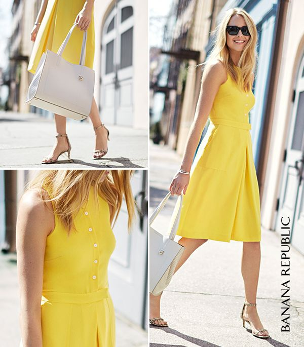 This is the color that defines summer dressing. Memorial Day, destination wedding, summer concerts and city nights are all gorgeously solved in a sidewalk stealing Banana Republic yellow sundress. Amy Jackson shows us versatility at its sunny best.