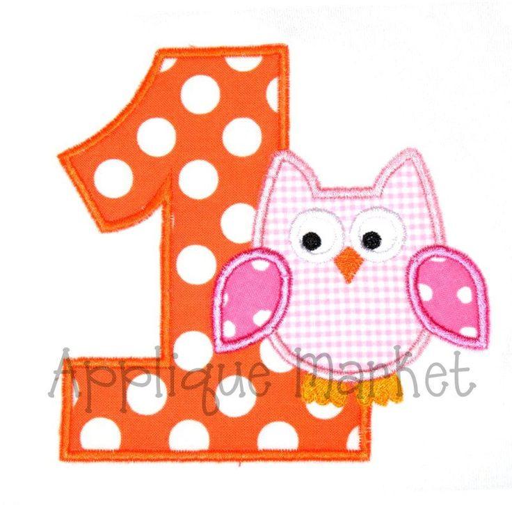 Machine Embroidery Design Applique First Birthday Owl
