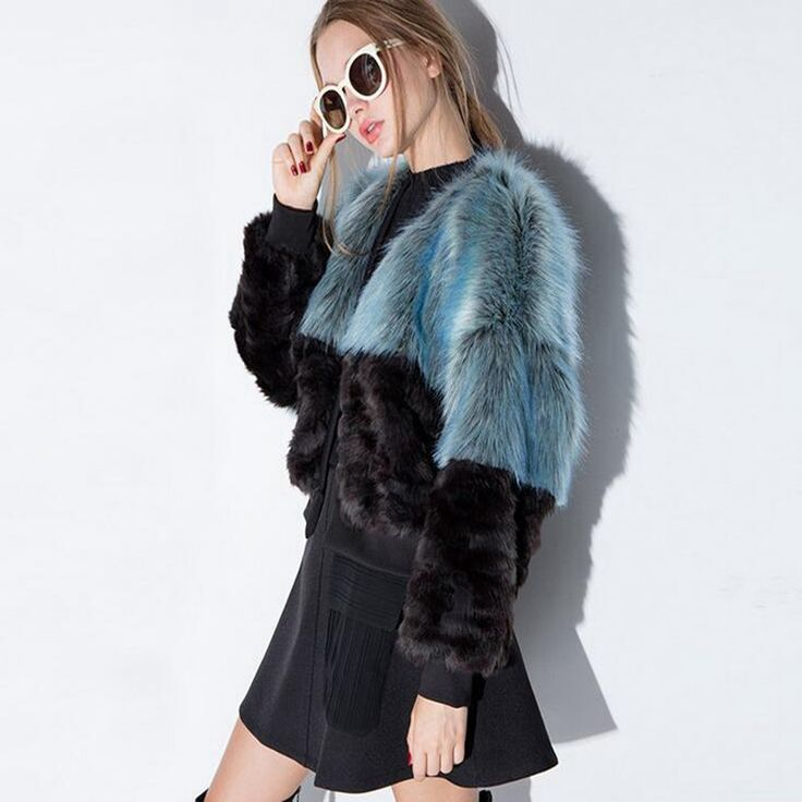 Elegant 2016 Winter Women Patchwork Faux Fur Coats O-neck Slim Short Femme Cardigan Outwear Jackets Plus Size WF174