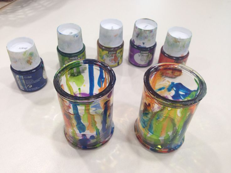 Use these glass paints to decorate the candlesticks.