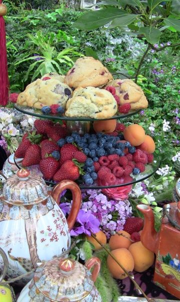 for breakfast, brunch or tea - scones with fruit on a tiered stand