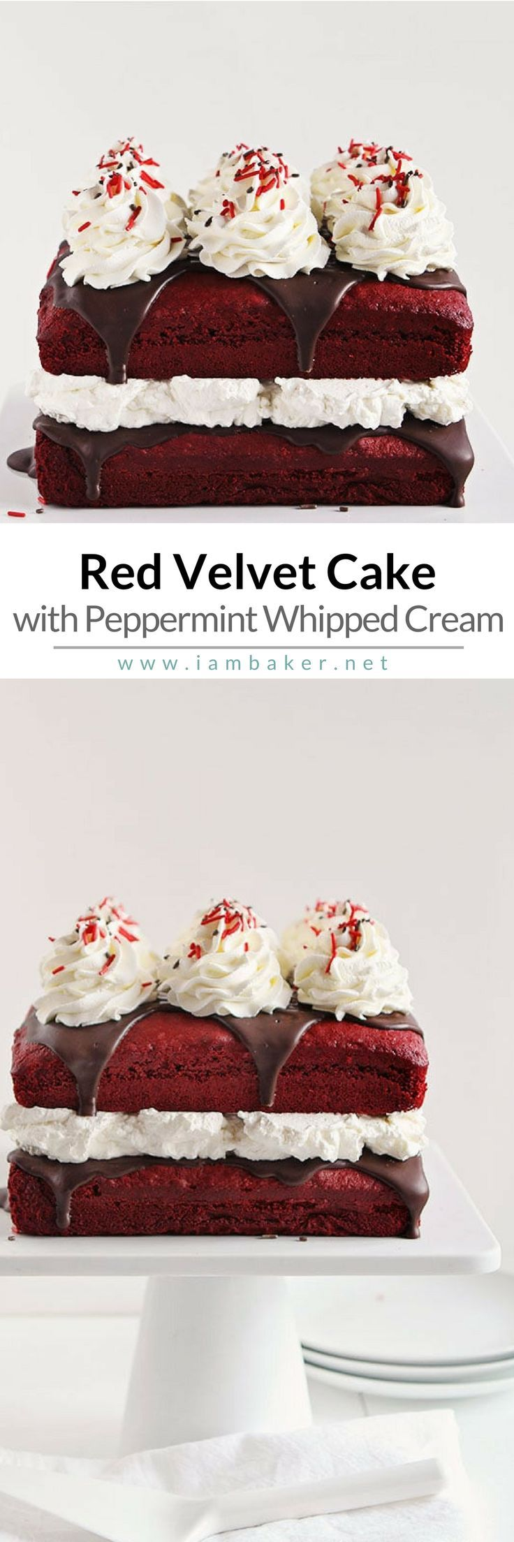 Love red velvet treats? You gotta try to make this easy dessert recipe- Red Velvet Cake with Peppermint Whipped Cream! This is seriously the PERFECT cake for any holiday celebration! For more simple baking and easy dessert recipes, check us out @iambaker. #iambaker #iambakercake #cakes