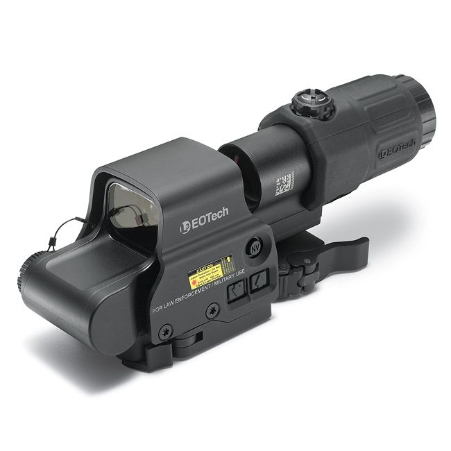 The EOTech Holographic Hybrid System combines the EXPS3-4 Holographic Weapon Sight with the G33 STS Magnifier to provide a solution for infantrymen in ever-changing battlefield conditions. The system