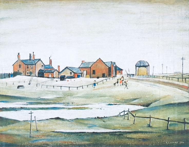 LS Lowry (1945) Landscapes with farm buildings.