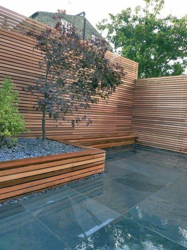 Minimalistische Garten Design Ideen Holzzaun Glänzender Boden ... Outdoor Patio Design Ideen