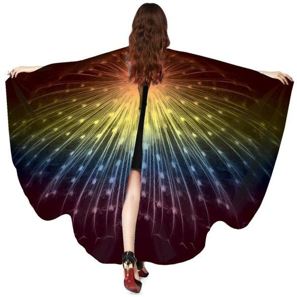 Amazon.com: VESNIBA Women Butterfly Wings Shawl Scarves Ladies Nymph... ($100) ❤ liked on Polyvore featuring costumes, lady halloween costumes, ladies costumes, ladies poncho, butterfly wing costume and style poncho