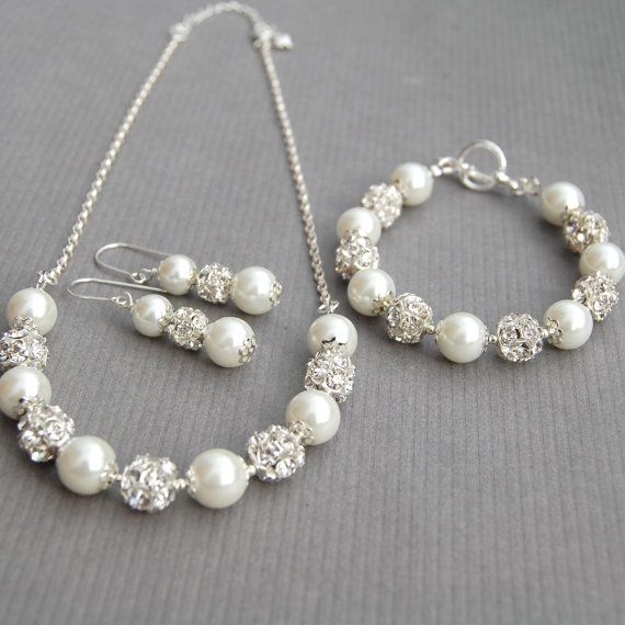 Bridal Jewelry Set, White Pearl Rhinestone Necklace Bracelet and Earrings Set, Wedding Jewelry