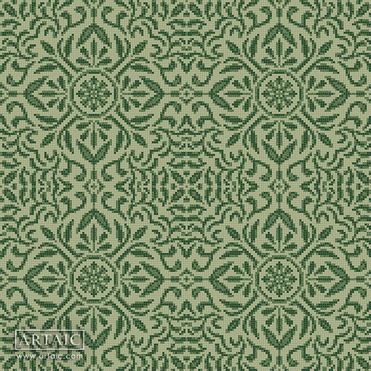 Arique Virid Tile Pattern from Artaic's Ornamental & Damask mosaic collection. See more custom designs at www.artaic.com