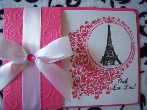 Sweet 16 Quinceañera Chic Paris Eiffel Tower Bling Invitations