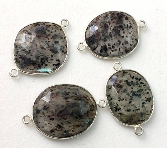 4 Pcs Rutile Bezel Free Form Connectors Findings Rutile Gem