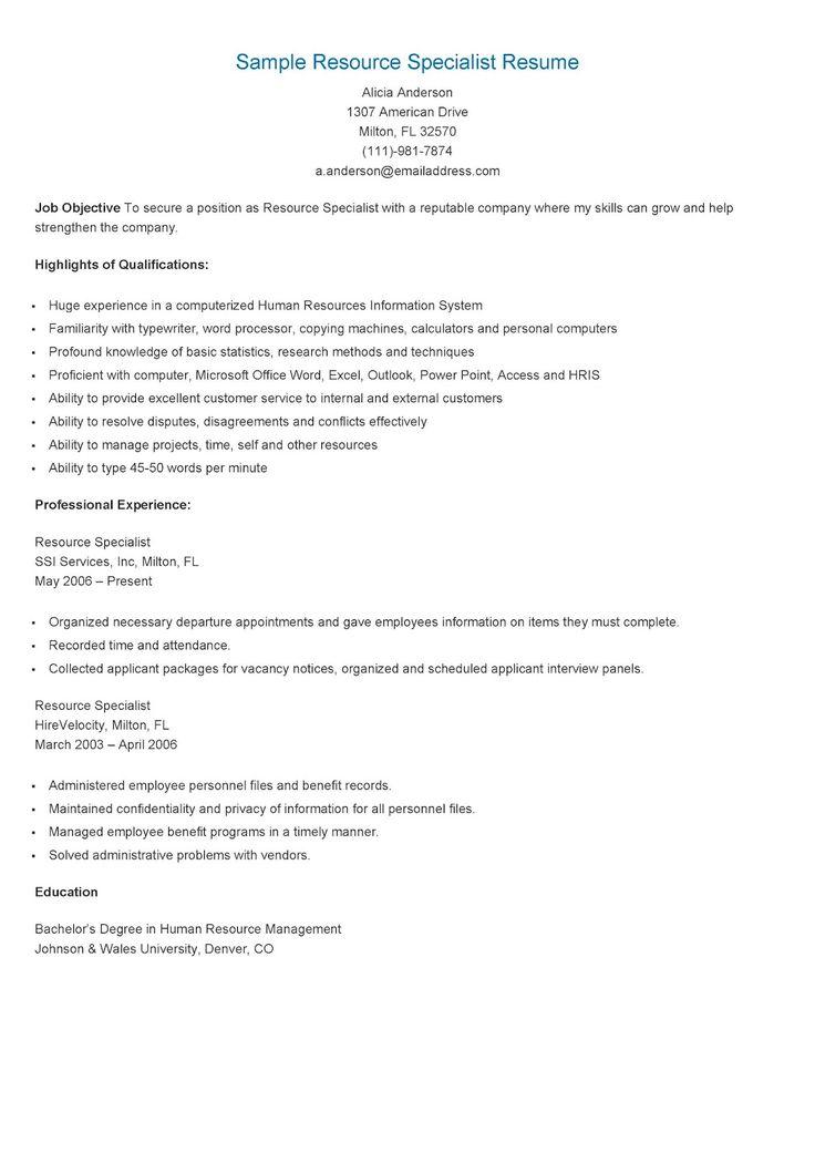 Sector enforcement specialist sample resume