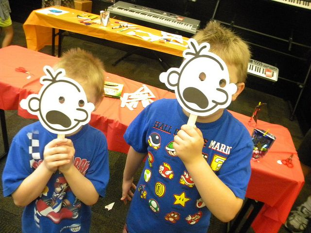 DSCN4398 by Bookmans, via Flickr. Make your own Diary of a Wimpy Kid mask. Most of the characters are available for download from:   http://www.wimpykidclub.co.uk/downloads/