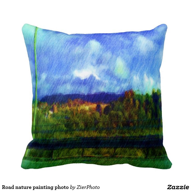 Road nature painting photo pillows