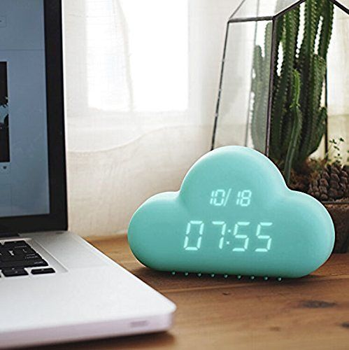 Cute Cyan Cloud Shape Sound Control Digital USB Alarm Clock USB/Battery Power Supply + AC Adapter