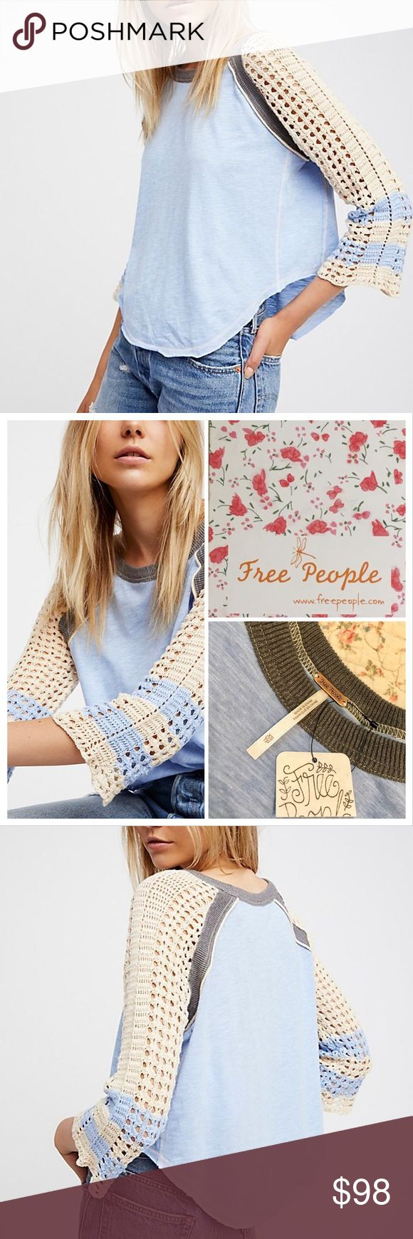 """Free People Finders Keepers Tee New with Tag FP Tee  Details:  Style No. 41675448.   """"Classic baseball tee in Blue with a beautiful, boho-inspired update featuring a Cream Color crochet design at the sleeves.""""  Hand Wash Cold.   Measurements coming Free People Tops"""