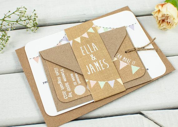 Burlap wedding invitation pastel bunting hessian by normadorothy