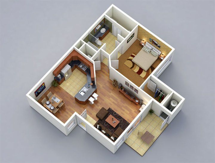 3d Floor Plans 3d Home Design Free 3d Models 3d Home Design Architectural Floor Plans One Bedroom House Plans