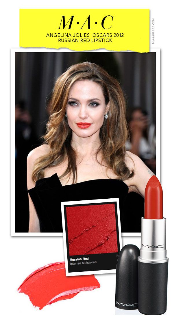 Angelina Jolie wears M.A.C Cosmetics Russian Red Lipstick @ The Oscars