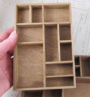 Mini Wood Printers Type Tray Shadowbox*
