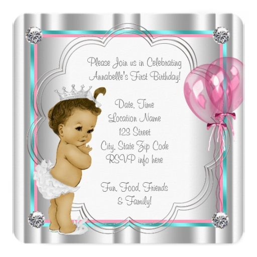 1860 best baby girls 1st birthday party invitations images on pink and teal blue princess 1st birthday party 525x525 square paper invitation card stopboris Images