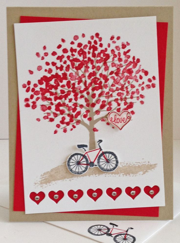 use your sheltering tree stamps to create this red tree of love for valentines day add a row of hearts along the bottom and a sweet message on the inside - Photo Valentine Cards