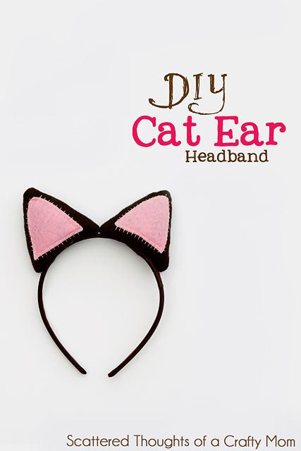 Cat Ear Headband - Simple and inexpensive Halloween costume add-on for kids. From Scattered Thoughts of a Crafty Mom.
