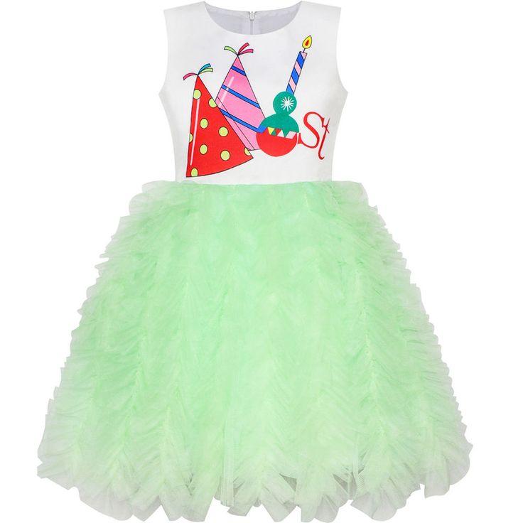 Girls Dress Happy Birthday Candle Party 1st Birthday Tutu Dress Age 12M-8 Years