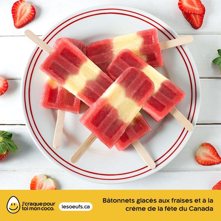 Bâtonnets glacés aux fraises et à la crème de la fête du Canada | lesoeufs.ca | #Oeufs