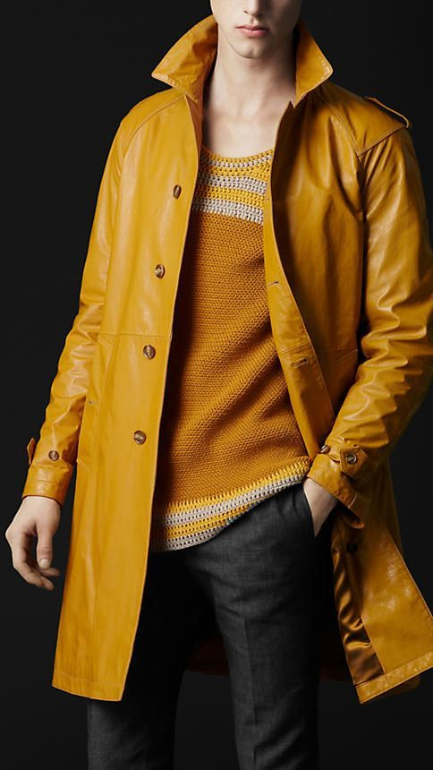Mens Relaxed Fit Pure Yellow Leather Car Coat